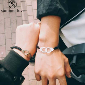 Wholesale freedom gifts resale online - Handmade Braided FREEDOM Handcuff Couple Leather Bracelet for Women Men Gold Silver Charm Bracelet Fashion Jewelry Valentines Day Gift
