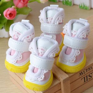 Wholesale 1 Set Pet Winter Warm Shoes Boots Puppy Winter Oxford cloth Snow Warm Walking Boots Cute Fancy Dress up Lace Soft Pet Dog