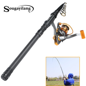 Wholesale Sougayilang Spinning Fishing Rod with ST2000 Reel Set Black Portable Travel Carbon Fishing Rod Combo Pole