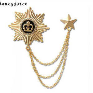 Men 's badge brooch High Quality Women chain men badges Gold And Silver Color Europe Medal brooch Bage on Sale