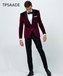 Wholesale 2019 Vintage Velvet Wine Red Lapel Tuxedo wedding Suit for men Groom wear custom make jacket pant bow