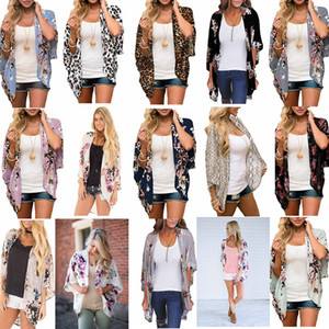 Women Floral Suntan Cardigan Coat Batwing Sleeve Blouse Cover Summer chiffon Beach Cape Bikini Cover-Ups Loose Kimono Beachwear 10 LJJA2479