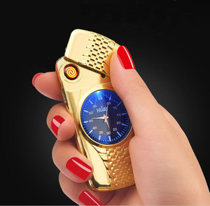 Creative 2 in 1 brick watch lighter Electric heater cigarette lighter USB Rechargeable cigar Lighter portable Windproof top grade gift