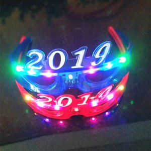 Wholesale 2019 New Year LED Head Brand Creative Flash Light Fashion Glasses Plastic Christmas Party Cheer Props Hair Band Toy mw hh