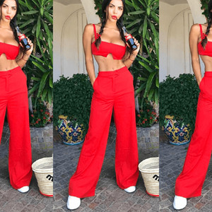 Women's fashion spring top tight sportswear sexy halter top two pieces of women's long trousers street fashion Casual sports suit Yellow red on Sale