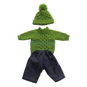 18inch Fashion Doll Winter Clothes Long Sleeved Sweater Tops & Jeans Trousers Beanie Hat For American Girl Doll Clothing