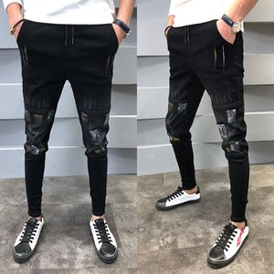 Wholesale Autumn New Skinny Jeans Men Stretch Slim Fashion Print Streetwear Hip Hop Denim Pants Man Casual Wild Male Cowboy Clothes