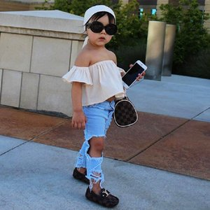 Baby Girl Trendy girl's Off shoulder Crop white tops and headband+ Shredded jeans Kids Clothing 3Pcs