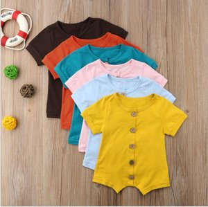 Wholesale Baby Girl Boy Romper Clothes Solid Pink Blue Button Summer Cotton Newborn Jumpsuit Newborn Romper Onesies for M Colors CFYZ179