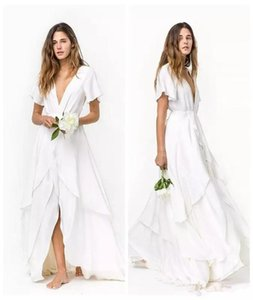 Wholesale Beach Bohemian Chiffon Wedding Dresses 2020 New A-Line Deep V-Neck Short Sleeve Front Short Back Long Bridal Gowns Robe De Mariage W1008