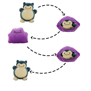32CM Changeable Two Style in One Snorlax Plush Toy 2 in 1 Ditto Metamon Snorlax Double zipper JAPAN Plush Doll Y200703