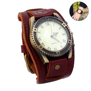 Wholesale 1 Men Wrist Bracelet Quartz Watch Roman Numerals Gear Faux Leather Band Round Big Dial Vintage Wide Strap for Business LL