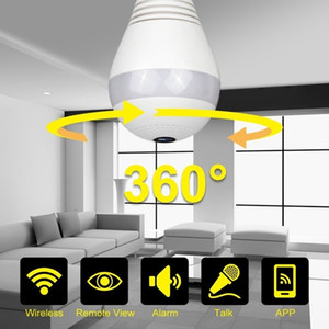 wi kameras großhandel-Neues Schiff aus US UK Eulenview Wireless Glühbirne IP Kamera Wi Fi Fischauge P Grad Mini CCTV VR Kamera LED Birne Indoor Outdoor Lightin