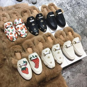 Plush half slippers women wear autumn and winter new leather rabbit fur flat head baotou mule shoes casual dress shoes
