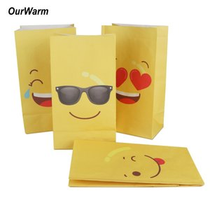 Wholesale OurWarm Party Favors Emoji Paper Bags For Gifts With Emoji Stickers Yellow Four Kinds of Funny Expressions Candy Bags