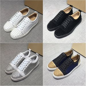 Wholesale Mens Best Designer shoes Top Red Bottom junior Studded Spikes Sneakers real leather trainers Party shoes Genuine leather