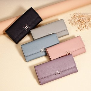 New Carteira Real Women's Wallet Purse with Large Capacity and Multi-Card Holder Long Section Solid Colors