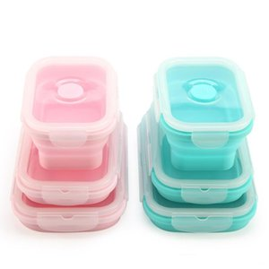 Souvenirs 3pcs set Collapsible Silicone Lunch Box Food Storage Containers Fruits Holder Camping Road Trip Portable Microwave Oven Bento Box
