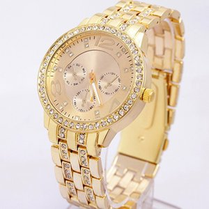 Wholesale Fashion Women Rhinestone Quartz Wrist Watch Unisex Stainless Steel Large Dial Case Rhinestone Quartz Wrist Watch Multi Color