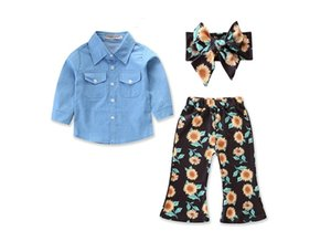 New Arrivals Baby Floral Outfits Girls Headband+Top+Chrysanthemum Print Bell-Bottoms Pants 3pcs set Autumn Suit Boutique Kids Clothing Sets on Sale