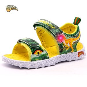 Wholesale Dinoskulls Kids Boys Sandals 2018 Led Light Summer Shoes Leather Summer Kids Shoes Slippers Beach Shoes 3d Dinosaur 27-34 Y190525