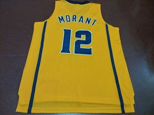 Men Yellow White Ja Morant #12 Murray State College Real embroidery jersey Size S-4XL or custom any name or number jersey on Sale