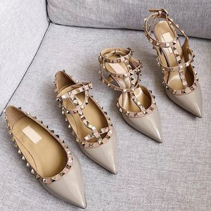 Wholesale women high heels Designer dress shoes party Spikes rivets sexy pointed toe shoes TOP quality Genuine leather platform pumps wedding shoes