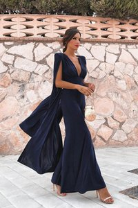 Wholesale Elegant Deep V Neck Sleeves Rompers Party Wear Evening Dresses Pant Suits A Line Dark Navy Split Prom Party Gowns Jumpsuit Celebrity Dresses