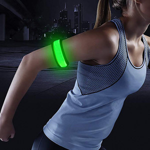 Wholesale 1 Pack Glowing Bracelets Sport LED Wristbands Adjustable Running Light for Runners Joggers Cyclists Bike Warnning Light Battery