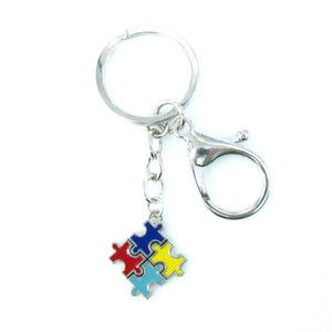 Wholesale puzzle pieces autism resale online - New Arrival Autism Charms Keychain Colorful Autism Awareness Jigsaw Puzzle Pieces Key Chain Key Ring Jewelry
