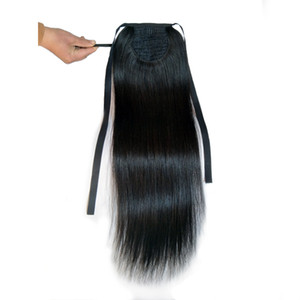 peinados de cola de caballo al por mayor-Cabello humano de cola de caballo Remy Straight European Ponytail Peinados g g g Clip de pelo natural en extensiones de Ali Magic
