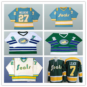 Men's 1970s CALIFORNIA GOLDEN SEALS 27 GILLES MELOCHE 7 REGGIE LEACH Vintage Jersey Stitched White Blue Green Yellow Alternate Size S-4XL on Sale