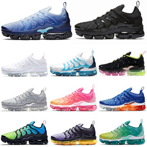 Wholesale tn plus running shoes men women Chaussures Triple White Black ICE BLUE AURORA GREEN Pink Rise mens trainers Sports Sneakers