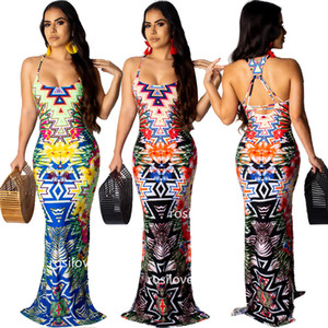 Wholesale 2019 young woman sexy Party Dresses slip dress summer Tight skirt Fishtail skirt Print dress Open fork skirt