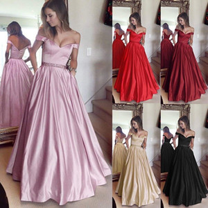 Wholesale Sexy Pink Burgundy Red Prom Dresses Long A line Sleeveless Off Shoulder Sweetheart Party Gowns for Marriage Guest Wear with Beaded Belt