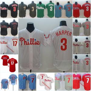 Mens #3 Bryce Harper Philadelphia Jersey Stitched White Red Grey #7 Maikel Franco #17 Rhys Hoskins Jersey S-3XL
