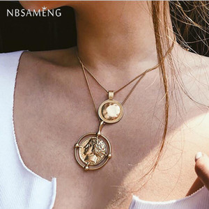 Wholesale 2019 Chain Pendant Statement Necklaces Choker Jewelry Fashion Vintage Layered Gold Multilayer Coin Long Necklace For Women