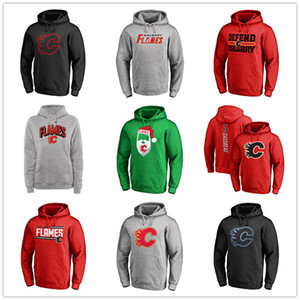 Wholesale 13# Johnny Gaudreau Red Hockey Hoodies Men's Calgary Flames Branded Black Ash Gray Green Sport Hoodies long Outdoor Wear Free shipping