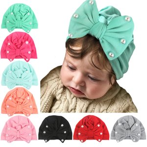 Wholesale cute Bowknot Pearl Indian Hat Bandanas baby girls kids turban headband hair head bands wrap accessories for children headwrap