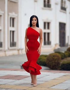 Wholesale 2019 Hot Red African Black Girls Prom Dresses Party Wear one shoulder stain Tiered Mermaid Evening Gowns custom made Party Vestidos