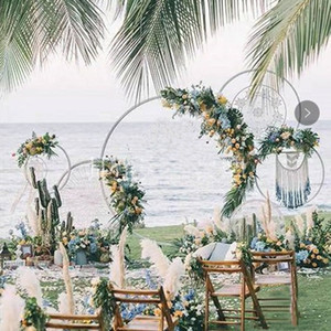 Wholesale Wedding decoration Background Arch Round Wrought Iron Shelf Decorative Props DIY Wreath Party Background Shelf Flower with Frame