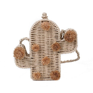 Wholesale Factory brand women handbag summer new cactus woven bag ins super fire fur ball decorated cute Straw bag unique style beach bag