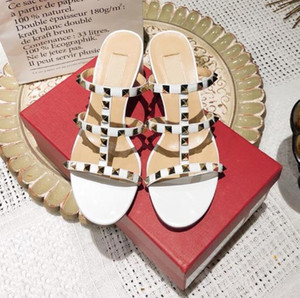 Hot Sell with box white T strap rivets designer sandals bridal wedding shoes Size 34 to 41 tradingbear