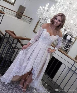 Wholesale 2019 New Off The Shoulder Long Sleeves Bridal Gowns Low Back Beach Wedding Vestidos Cheap Custom Made Retro Lace High Low Wedding Dresses