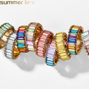 Wholesale 2019 Vintage Crystal Rainbow Engagement Rings for Women Fashion Colorful Brand Rings Wedding Jewelry Party Wholesale Hot Sale