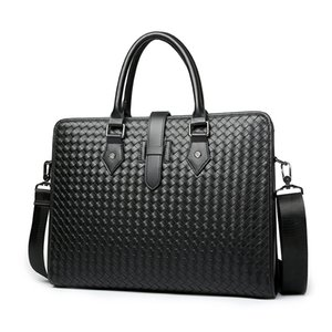 Wholesale 100 Cow Genuine Leather Men Briefcase Bag Business Handbag Male Laptop Shoulder Bags Tote Computer Natural Skin Weave Briefcase