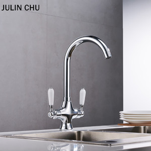 Wholesale black kitchen sink mixers for sale - Group buy White Kitchen Faucets Black Double Handle Hot and Cold Water Mixer Tap Brass Rotation Kitchen Sink Faucet Chrome Basin Taps