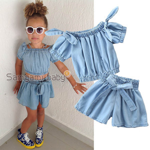 Ins Denim Girls Outfits 2019 Summer Kids Sets T shirt Tops+Jeans shorts Girl Suit Kids Outfits kids designer clothes girls clothes A4025