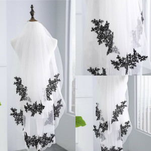 New Arrival Two Layers Fingertip Wedding Veils Black Applique Edge Cheap Tulle Bridal Veil For Bride Veil With Comb