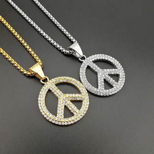 Wholesale peace sign pendant necklaces resale online - Hip Hop Bling Iced Out Gold Silver Color Stainless Steel Peace Sign Pendants Necklaces for Men Rapper Jewelry Drop Shipping